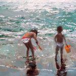 Cuadro al oleo de unos niños en la orilla del mar