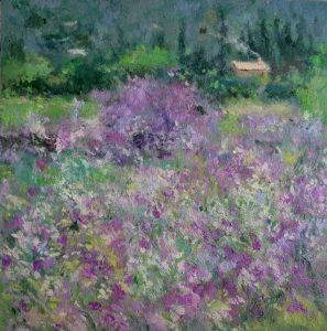 Oleo de un paisaje de flores violetas