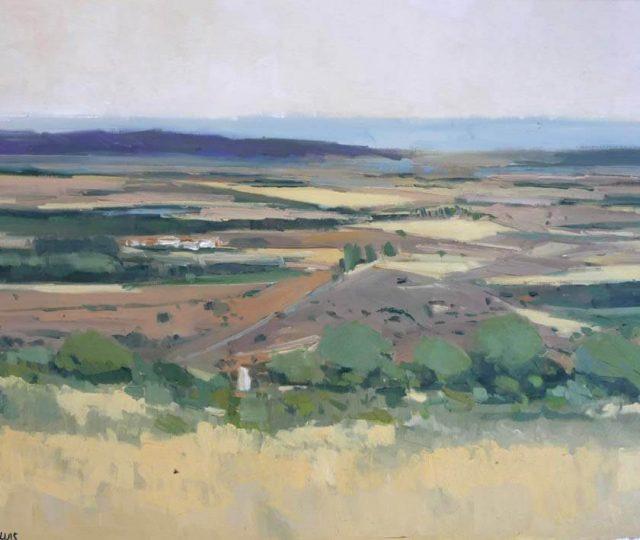 Cuadro al óleo de un paisaje Castellano