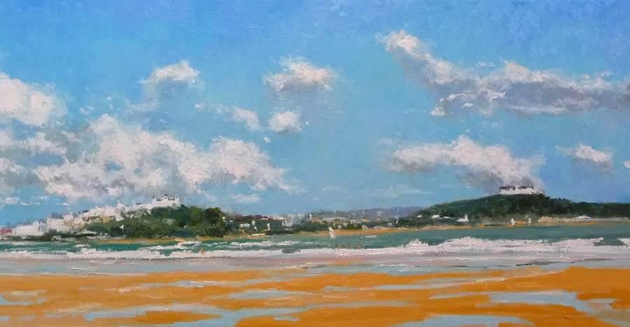 Oleo de una vista panorámica de Santander desde la playa de Somo