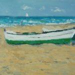 Marina al óleo de unas barcas en la playa de la Malvarrosa