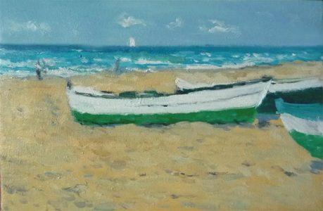Barcas en la playa de la Malvarrosa, Valencia