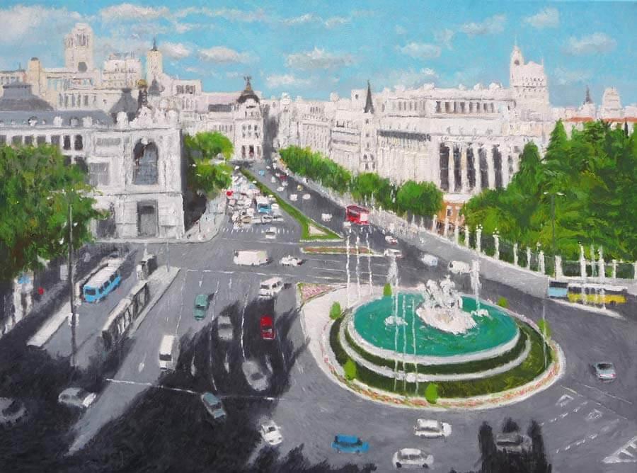 Cuadro al óleo de la plaza de Cibeles en Madrid