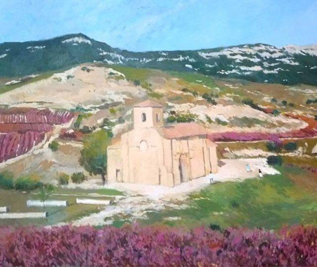 Cuadro al óleo de un paisaje de la Rioja Alta