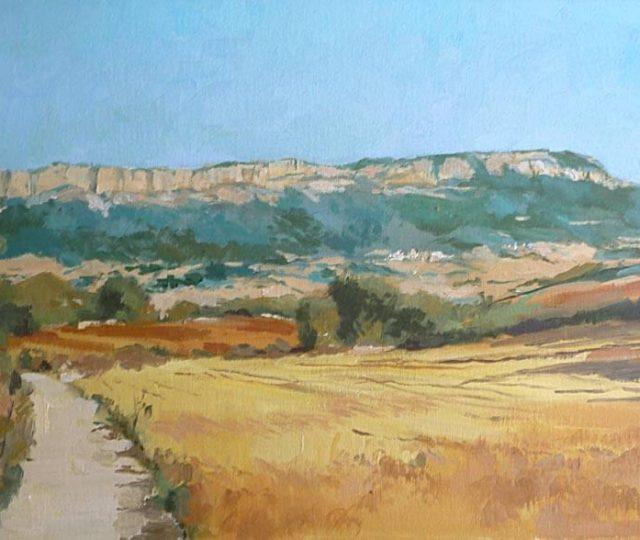 Cuadro de un paisaje de la Sierra de Urbasa en Navarra