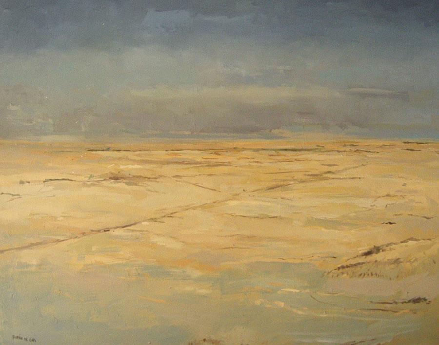 Cuadro al óleo de un paisajes de Tierra de Campos