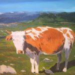 Cuadro al óleo de una vaca