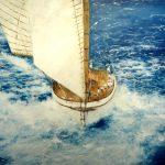 Óleo de un velero en una regata