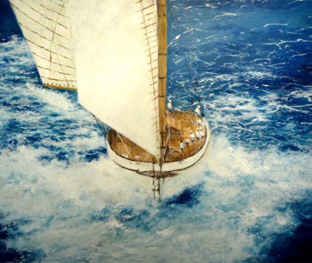 Cuadro al oleo de un velero en una regata en alta mar