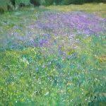 óleo de un cuadro de flores moradas