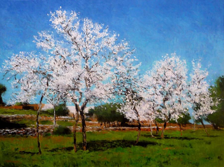 Cuadro de un paisaje de almendros en flor en Mallorca.