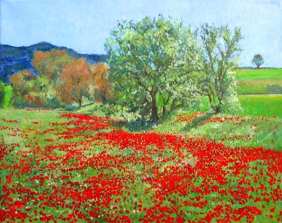Oleo de un paisaje de amapolas en primavera