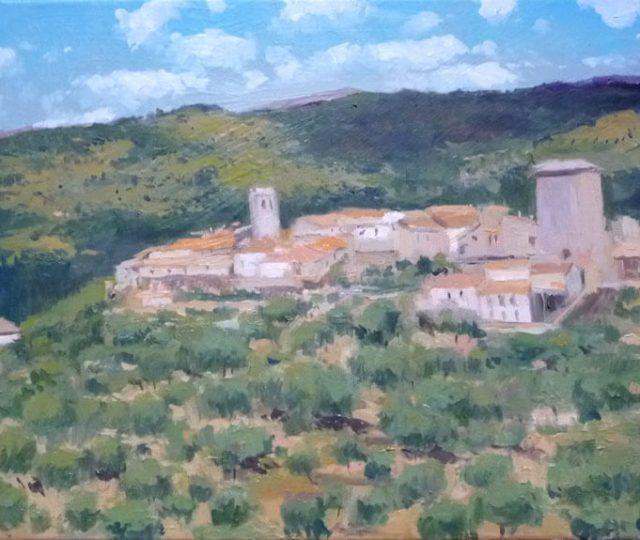 Cuadro al óleo de Miranda del Castañar, Salamanca