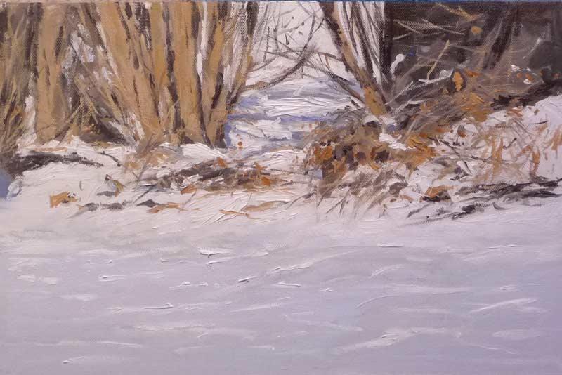 óleo de un paisaje de invierno