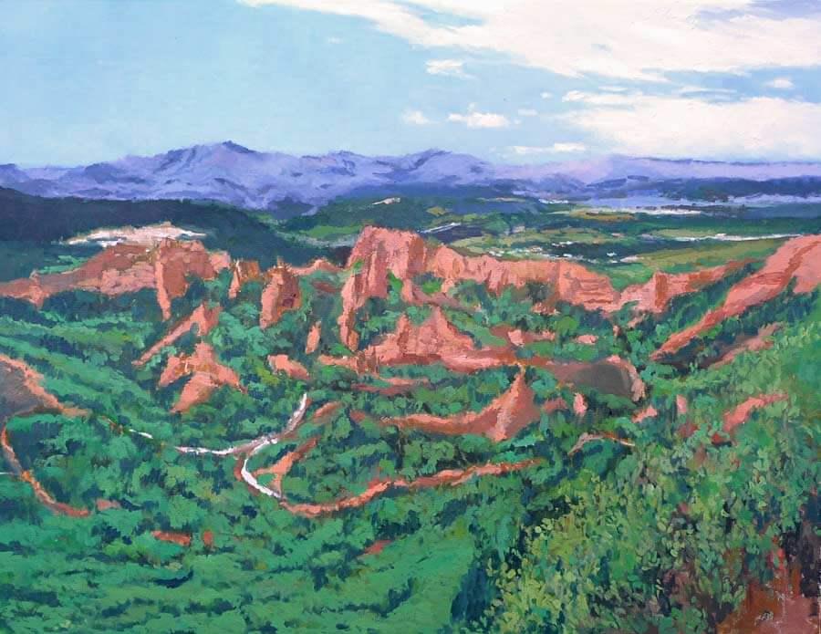Cuadro al óleo de las médulas, León
