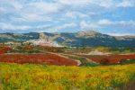 Cuadro al oleo de un paisaje de La Rioja en otoño