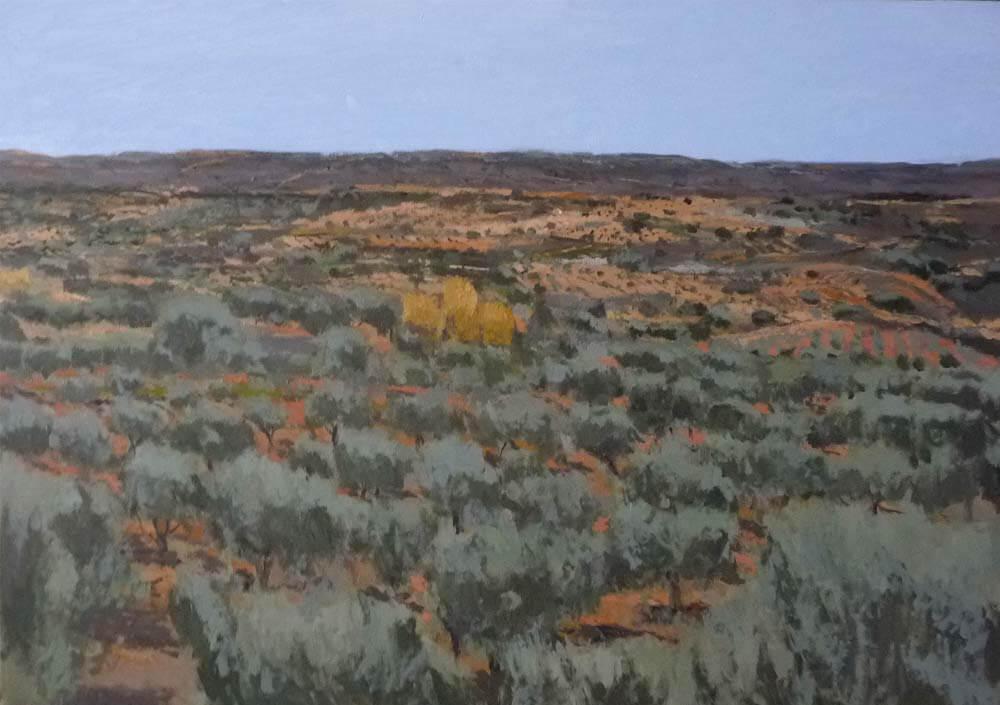 Oleo de una paisaje de olivos en la Alcarria de Guadalajara