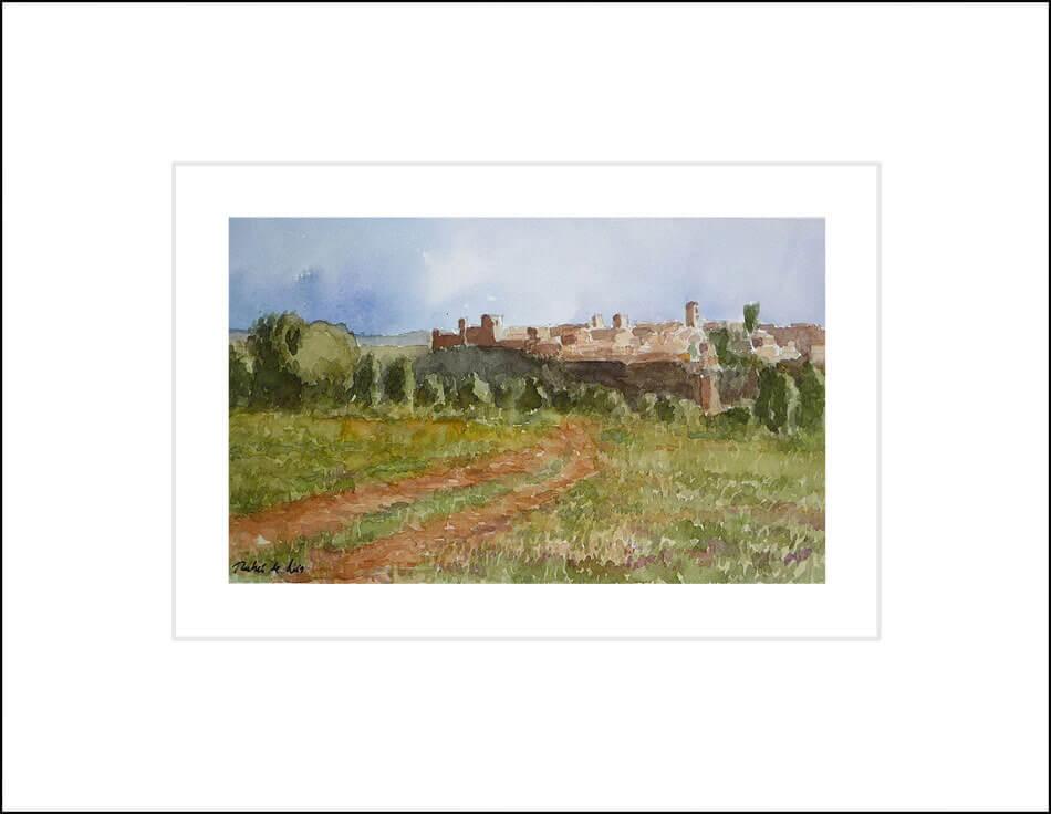 Cuadro en acuarela de la villa de Pedraza en la provincia de Segovia