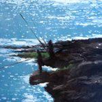 Oleo – pescadores al atardecer