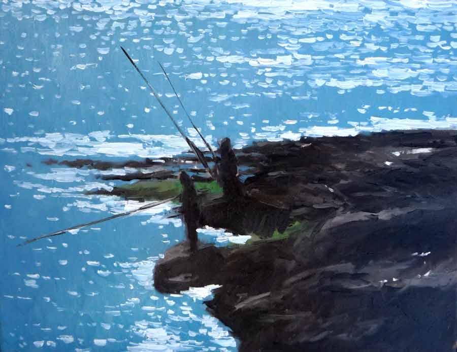 Oleo - pescadores al atardecer