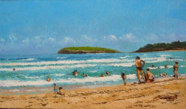 Oleo de una mañana en la playa de Somo