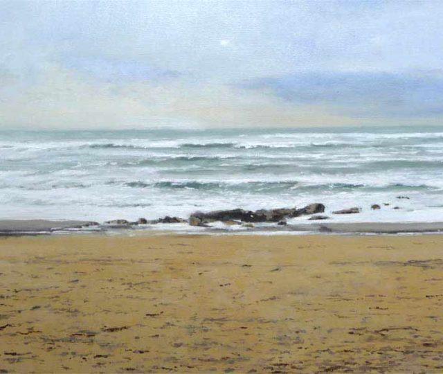 Playa de Riazor, óleo sobre lienzo