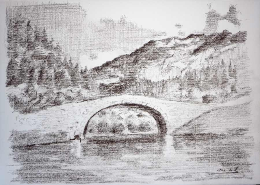 Dibujo del puente de Bujaruelo