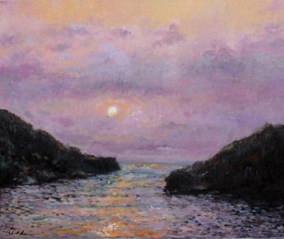 Cuadro de una puesta de Sol en Ibiza