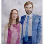 Retrato de una pareja en acuarela