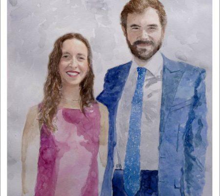 Retrato pintado en acuarela por Rubén de Luis