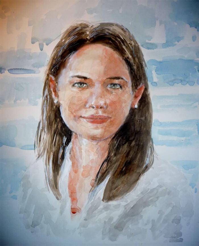 Retrato en acuarela de una mujer