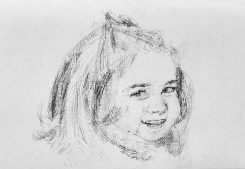 Dibujo de un retrato a carboncillo