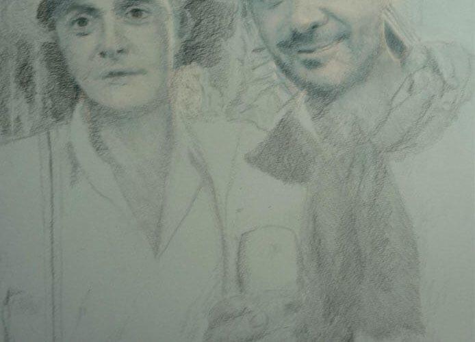 Retrato a lápiz de dos figuras