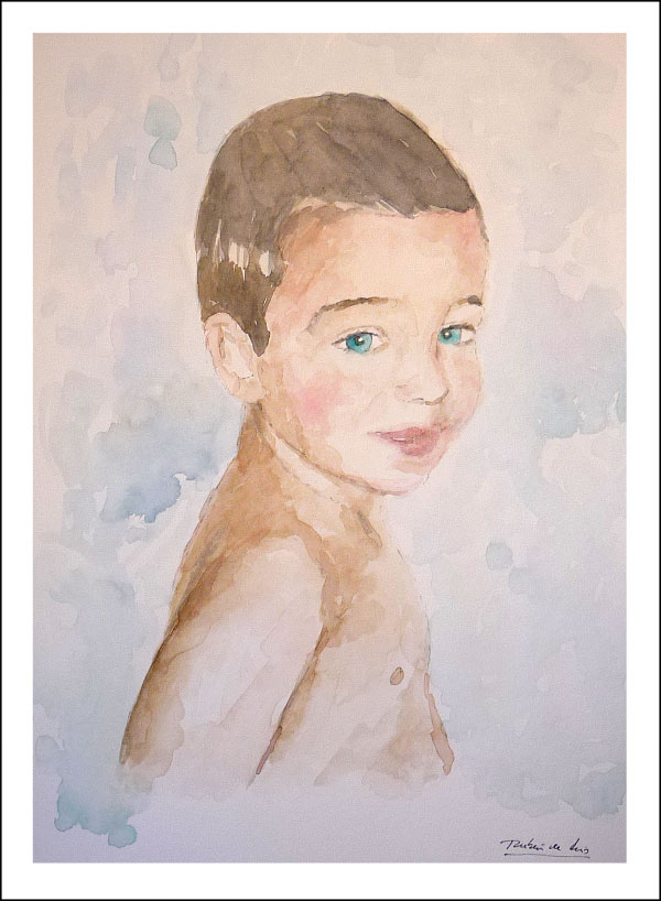 acuarela de un retrato a color de un niño