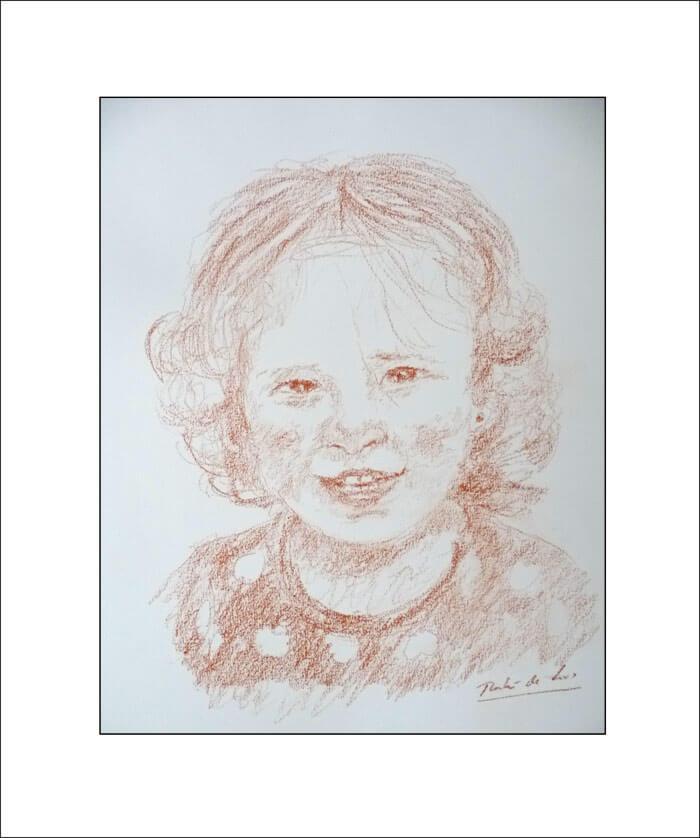 Dibujo a sanguina de una niña