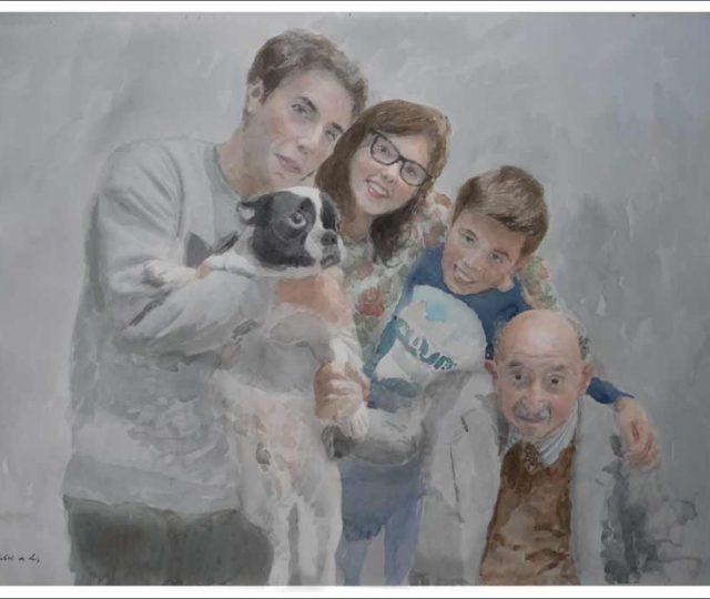 Retrato de familia pintado por encargo en acuarela