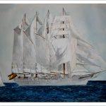 Acuarela del buque Juan Sebastián Elcano