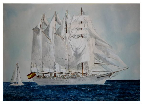 Cuadro en acuarela del buque Juan Sebastián Elcano
