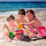 Cuadro de unos niños en la playa