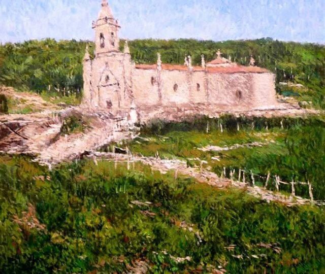 Paisaje de Orense. Cuadro al oleo de la iglesia de San Benito de Rabiño.