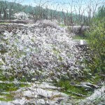 Oleo de espinos en flor en primavera