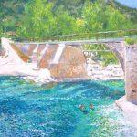 Paisaje al oleo de Boltaña, puente de La Gorga, Huesca