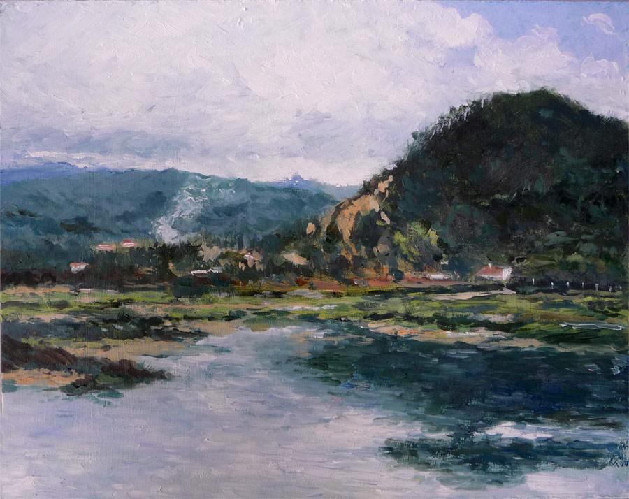 Cuadro al oleo de un paisaje de Santoña