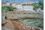 Cuadro en acuarela del puerto viejo de Algorta en Getxo