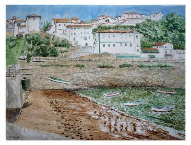 Acuarela del puerto viejo de Algorta, Getxo