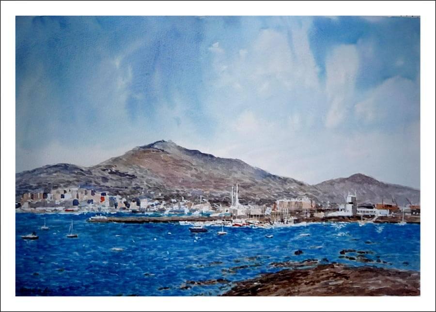 Acuarela de una vista de Getxo, Vizcaya