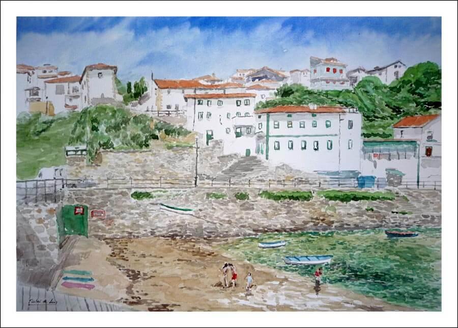 Acuarela del puerto viejo de Getxo, Vizcaya