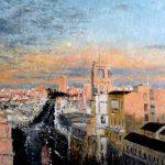 Cuadro al oleo de la Calle de Alcalá de Madrid al atardecer