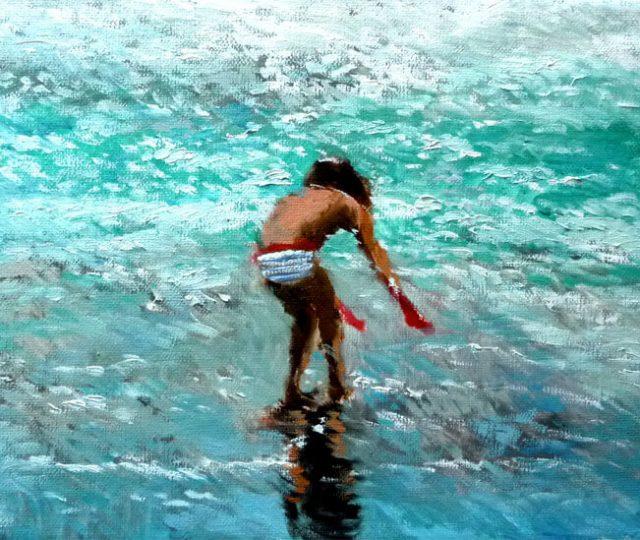 Niña jugando en la playa, oleo sobre lienzo.