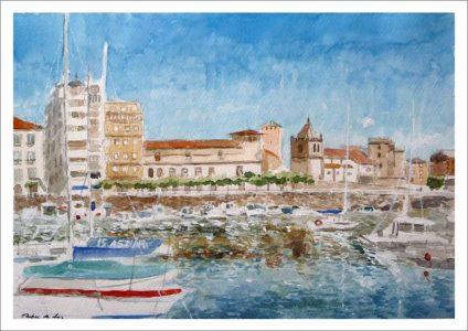 Acuarela del puerto deportivo de Gijón, Asturias